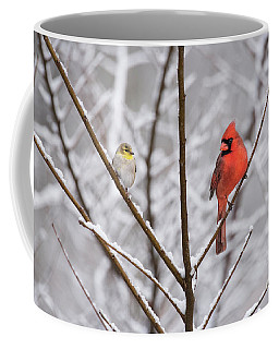 Goldfinch And Cardinal Coffee Mug