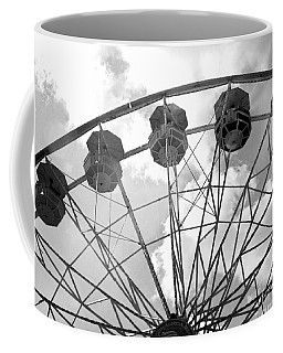 Coffee Mug featuring the photograph Carnival Ferris Wheel Black And White Print - Carnival Rides Ferris Wheel Black And White Art Prints by Kathy Fornal