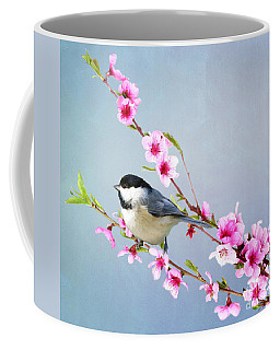 Carolina Chickadee And Peach Blossoms Coffee Mug