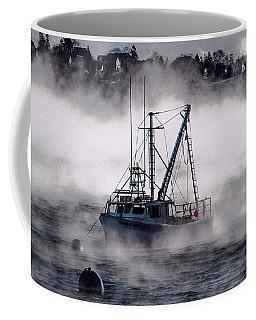 Carrie And Kayla Moored In Sea Smoke Coffee Mug by Marty Saccone