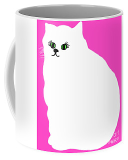 Cartoon Plump White Cat On Pink Coffee Mug by Marian Cates