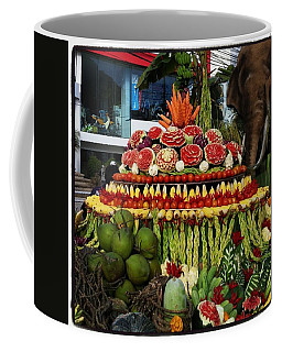 Coffee Mug featuring the photograph Carved Watermelon, Surin Elephant by Mr Photojimsf