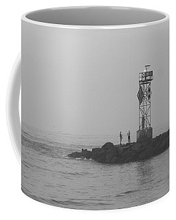 Coffee Mug featuring the photograph Casting At The Inlet Jetty by Robert Banach