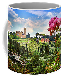 Roses And Castle On Green Tuscan Landscape In Florence, Italy Coffee Mug