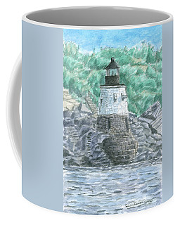 Coffee Mug featuring the painting Castle Hill Lighthouse by Dominic White