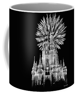 Castle With Fireworks In Black And White Walt Disney World Mp Coffee Mug
