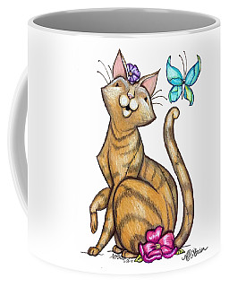 Cat And Butterfly Coffee Mug