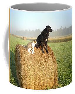Cat And Dog On Hay Bale Coffee Mug by Kent Lorentzen
