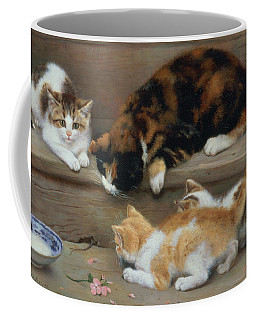 Cat And Kittens Chasing A Mouse   Coffee Mug