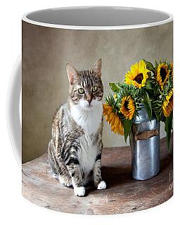 Cat And Sunflowers Coffee Mug