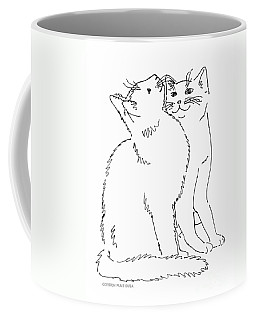 Coffee Mug featuring the drawing Cat-art-curious by Gordon Punt