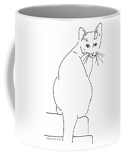 Coffee Mug featuring the drawing Cat-artwork-prints by Gordon Punt