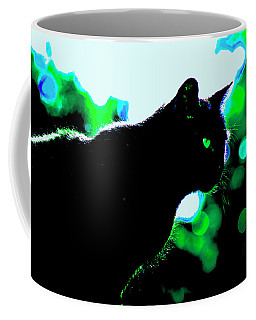 Cat Bathed In Green Light Coffee Mug by Gina O'Brien