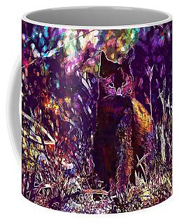 Coffee Mug featuring the digital art Cat Black Sun Meadow  by PixBreak Art