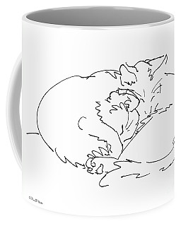 Coffee Mug featuring the drawing Cat Drawings 2 by Gordon Punt
