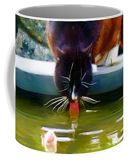 Cat Drinking In Picturesque Garden Coffee Mug
