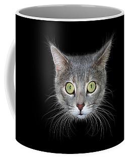 Cat Head On Black Background Coffee Mug