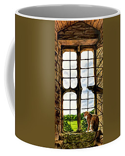 Cat In The Castle Window Coffee Mug