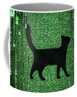 Coffee Mug featuring the digital art Cat In The Matrix Black And Green by Matthias Hauser
