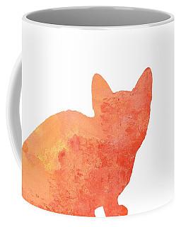 Watercolor Orange Cat Silhouette Coffee Mug