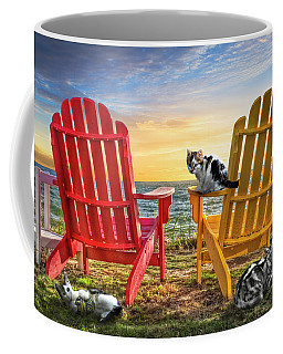 Coffee Mug featuring the photograph Cat Nap At The Beach by Debra and Dave Vanderlaan