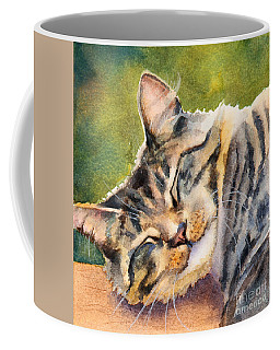 Coffee Mug featuring the painting Cat Nap by Bonnie Rinier