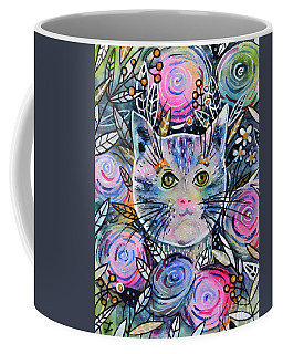 Cat On Flower Bed Coffee Mug