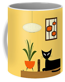 Coffee Mug featuring the digital art Cat On Tabletop With Mini Mod Pods 3 by Donna Mibus