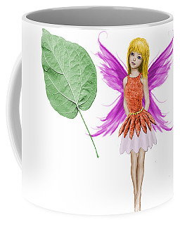 Catalpa Tree Fairy And Leaf Coffee Mug