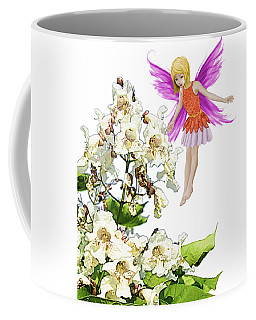 Catalpa Tree Fairy Beside Flowers Coffee Mug