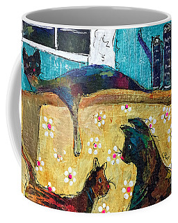 Coffee Mug featuring the painting Cats Hangin' Out  by Claire Bull