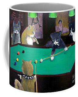 Cats Playing Pool Coffee Mug
