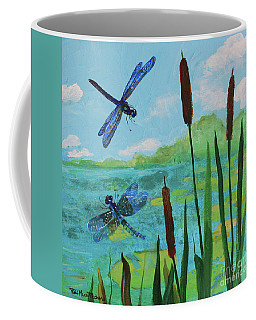 Cattails And Dragonflies Coffee Mug