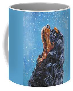 Cavalier King Charles Spaniel Black And Tan In Snow Coffee Mug