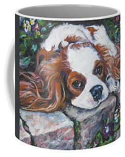 Cavalier King Charles Spaniel In The Pansies  Coffee Mug