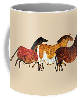 Cave Horses In Beige Coffee Mug