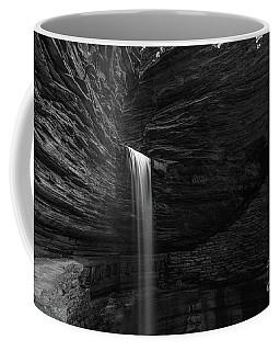 Cavern Cascade Waterfall Bw  Coffee Mug