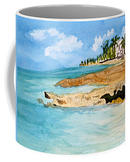 Coffee Mug featuring the painting Cayman Shoreline by Donna Walsh