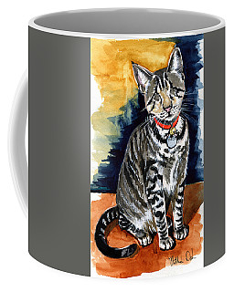 Coffee Mug featuring the painting Ceci The Blind Kitten by Dora Hathazi Mendes