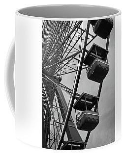 Coffee Mug featuring the photograph Cedar Point - Giant Wheel Cabins Bw by Shawna Rowe