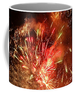 Coffee Mug featuring the photograph Celebratory Fireworks And Firecrackers Light Up The Sky by Yali Shi