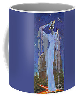 Celestial Bodies -- Fashion Collage Portrait W/ Fabric And Crystals Coffee Mug