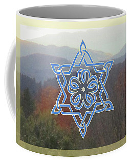 Celtic Hexagram Rose In Blue Coffee Mug