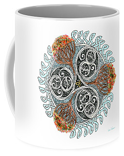 Celtic Knot With Autumn Trees Coffee Mug by Lise Winne