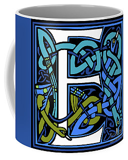 Celtic Peacock Letter E Coffee Mug