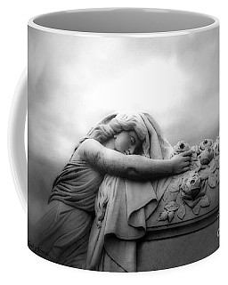 Coffee Mug featuring the photograph Cemetery Grave Mourner Black White Surreal Coffin Grave Art - Angel Mourner Across Rose Coffin by Kathy Fornal