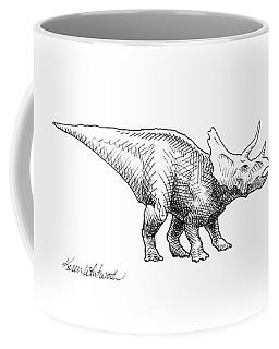 Coffee Mug featuring the drawing Cera The Triceratops - Dinosaur Ink Drawing by Karen Whitworth