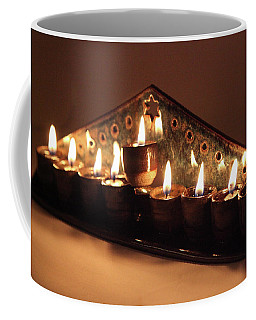 Ceramic Chanukkiah Lit With Eight Lights And One Lighter, The Shamash, Viewed On The Side Coffee Mug