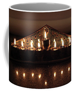 Ceramic Chanukkiah Lit With Eight Lights And One Lighter, The Shamash Coffee Mug
