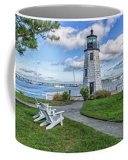 Chairs At Newport Harbor Lighthouse Coffee Mug